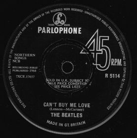 """The Beatles - Can't Buy Me Love / You Can't Do That - 1964 Rock - UK Original 7"""" 45"""