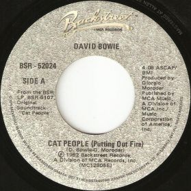 """David Bowie – Cat People (Putting Out Fire) - Giorgio Moroder - Paul's Theme  1982 Electro Synth Pop Soundtrack 7"""" 45"""