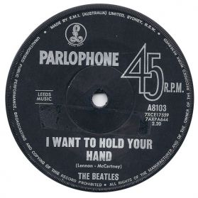 """The Beatles – I Want To Hold Your Hand / This Boy - 1963 Rock - Australia Issue 7"""" 45"""