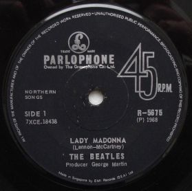 """The Beatles – Lady Madonna / The Inner Light - 1968 Rock - Singapore Issue 7"""" 45"""