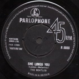 """The Beatles – She Loves You / I'll Get You - 1963 Rock - Original UK Issue 7"""" 45"""
