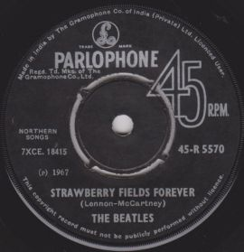 """The Beatles – Strawberry Fields Forever / Penny Lane - 1967 Psych Rock - Original India 7"""" 45"""
